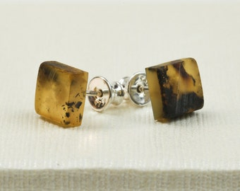 Handmade Baltic Amber Earrings. Raw Matt Studs. Everyday Modern Sterling Silver & Amber Jewelry.