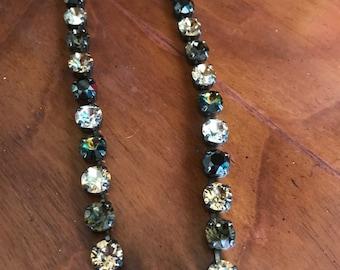 Swarovski crystal necklace with neutrals and blacks
