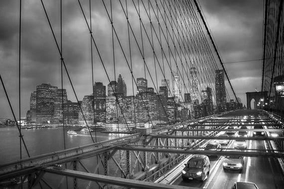 New York Digital Download, Brooklyn Bridge, New York Landscape, fine Art Photography,New York Prints, CIty Photography, Cars, Motors, Yellow