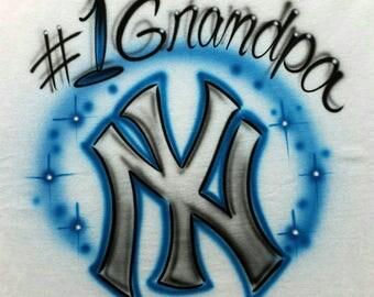 Airbrushed #1 Grandpa New York Yankees T-Shirt Or Hoody Sweatshirt