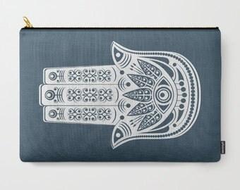 Boho Clutch Bag, Blue Travel Bag, Hamsa Carry All, Zipper Bag, Blue Cosmetics Bag, Blue & White Pencil Case, Gypsy Coin Purse, Bohemian Bag