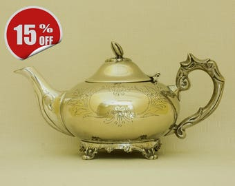 Antique Victorian Silver Plated Brass Teapot -SALE!- The original price was 46Eur!