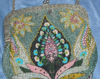 Antique Multicolored Beaded Handbag