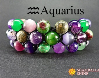Aquarius jewelry Birthday gemstone bracelet Colorful stone jewelry Personalized women bracelet Exclusive women gift Multi gemstone bracelet
