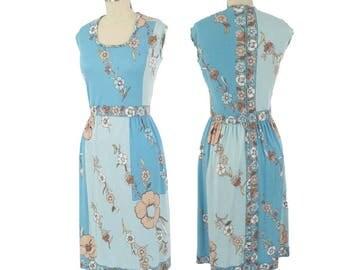 70s Paganne Jersey Print Dress-1970s Blue Floral Colorblock Dress-Designer-Signature Print-Mod-Sleeveless-M-Medium