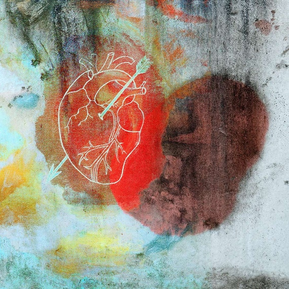 Every Love Has Some Blue, Valentine, heart print, romantic art, red, mixed media print, art for interiors, iconic art, limited edition,iskra