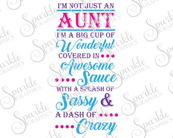 I'm Not Just An Aunt I'm A Big Cup Of Wonderful Cut File Aunt SVG Clipart Svg Dxf Eps Png Silhouette Cricut Cut File Commercial Use