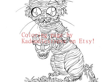 Halloween Coloring Page: Mummy Cat