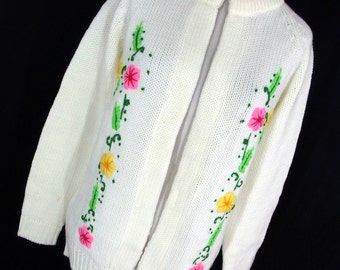 Vintage 60s 70s Kmart Cardigan Cream Fly Away Floral Flower Cream Pink Green Yellow Womens L Large Soft H7