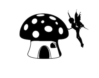 Fairy with Toadstool SVG Vector Cut File digital cut file svg cut file silhouette svg cricut svg vinyl pattern, Fairy SVG, Fairy Decal File