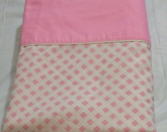 Vtg Cannon Monticello Twin Flat Sheet 50/50 Pink White Check Shabby Cottage Cutter
