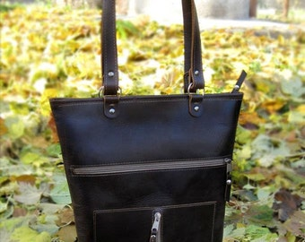 Bag with pockets, Leather Handbag, Handmade Bag, Top Handle Leather Bags