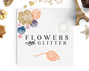 Watercolor Flowers And Glitter