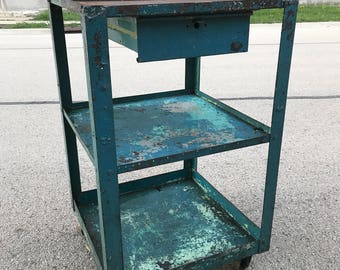 Industrial Metal Shop Cart with Drawer & Casters Salvaged Island
