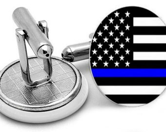 Thin Blue Line CUFFLINKS / Police Cuff Links / Personalized Gift for Him / Law Enforcement / Blue Lives Matter / Police Officer gift