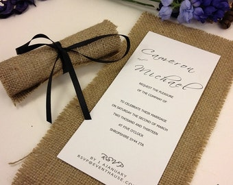 Rustic Blue Invitations, Burlap Wedding Invitations, Roled Wedding Invitation, Wedding Invites Recycle, Invitation Cards, 1 INVITATION