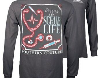 Living the Scrub Life--SC Classic Scrub Life on Long Sleeve - Charcoal.....Long Sleeve Scrub Life