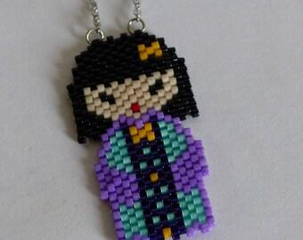 Collier, Kawaii, Kokeshi, Miyuki, violet, turquoise beads, manga