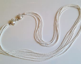 Extra long necklace with handmade Baroque Pearl and Cubic Zirconia hook clasp