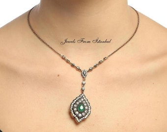 Classic Ottoman Style Emerald Necklace With Rhinestones -Hurrem/Roxelana's Jewelry