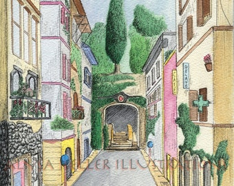 Streets of Rome watercolor with pen and ink print matted