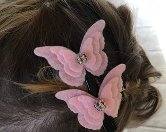 2 small fleece butterfly hair clip