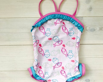 Vintage toddler swimsuit 1T, Pink baby girl bathing suit with flounces, Pastel baby girl's beach wear with little fishys and pink straps