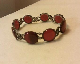Art Deco WACHENHEIMER Sterling Silver Carnelian Marcasite Bracelet Pefect Gift Idea Great Price