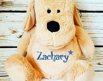Personalised toy, plush dog toy, baby toy, embroidered name dog toy, plush dog, birthday boy gift, birthday girl gift, baby shower gift.
