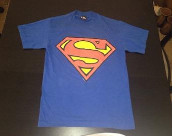 Vintage 1996 SUPERMAN  DC comic Big Logo T-shirt size Small