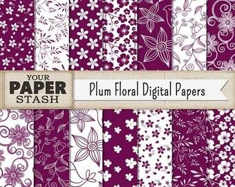 Plum Digital Paper, Plum, Wine, Floral, Flowers, Digital Paper Pack, Scrapbook Paper, Wedding, Autumn, Thanksgiving, Commercial Use