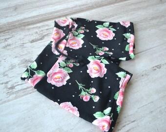 Black and Pink Floral Short Draw string Short Floral shorts  Black Shorts Pink Shorts Monochrome
