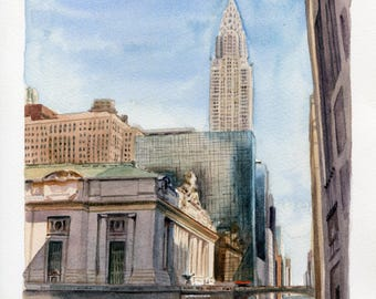 7x9 Original Watercolor Painting - Grand Central and the Chrysler Building I