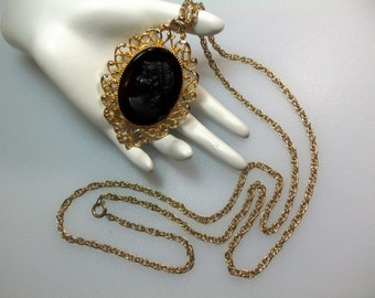Large Vintage Gold Tone Filigree Black Glass Cameo Pendant Necklace on 36 Inch Chain
