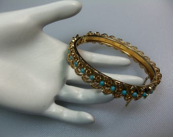 Vintage Gold Tone Layered Heart Metal Scrolls Bangle Bracelet with Turquoise Blue Beads