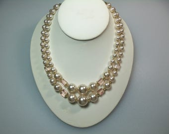 Vintage Double Strand Faux Pearl Plastic Bead and Pale Pink Glass Bead Bib Necklace with Hook Closure Marked Japan