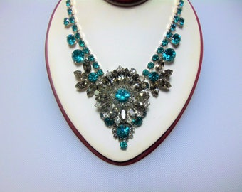 Verified Juliana/D&E Teal Blue, Smoke and Clear Rhinestone Silver Tone Necklace Delizza and Elster