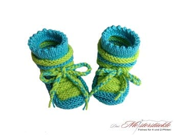 hand knitted baby shoes summer boots first shoes turquoise Green