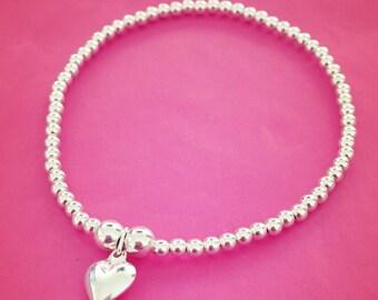 Sterling Silver Puffed Heart Charm Bracelet