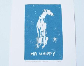 Whippet linocut print, art for dog lovers - UNFRAMED