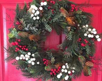 Holiday Wreath with Birds and Berries