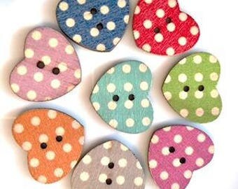 10 x Shabby Chic spotty wooden buttons - free post!