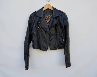 faux leather shrunken motorcycle jacket / small