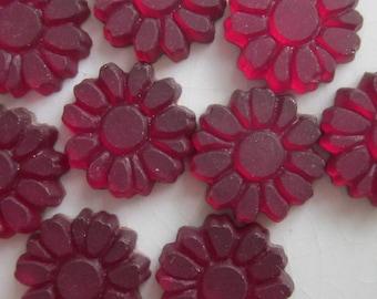 9 Vintage Glass Cabochons, Wine Red with Gold Foil Back, 10mm Flower