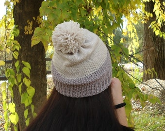 Slouchy hat color block hat two tone hat hand knit hat knit hat winter hat pom pom slouchy hat pom pom knit hat wool hat christmas gift