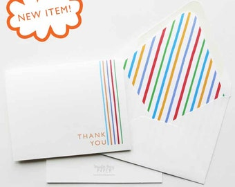 Rodan and Fields Cards - Thank You Cards - Referral Cards - Vertical Stripe Thank You