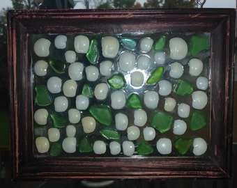 Authentic Beach Glass & Lucky Stone Sun Catcher/Mosaic Picture - Cottage Chic Art