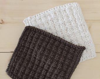 Kichen Dish Cloth // 3 Pack Dishcloth // Knitted Wash Cloth // Handmade // Waffle Stitch // Made to Order