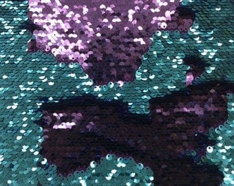 "Mermaid reversible sequin shiny purple/shiny turquoise on one way stretch poly spandex fabric 52""/54"" sold by the yard"