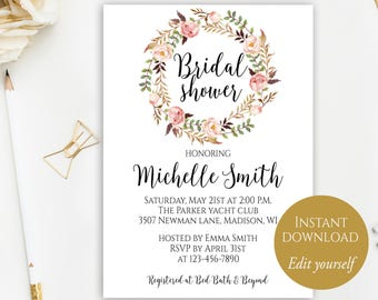 Bridal Shower Invite Template, Bridal Shower Invitation, Printable Bridal  Shower, DIY Bridal Shower  Bridal Shower Template
